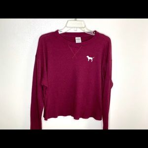 PINK Victoria's Secret Tops - < VS Pink Thermal Cropped Tee >